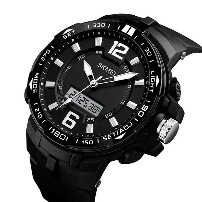 c515e8547e6 Relógio Masculino Skmei Anadigi 1273 - Preto e Branco - ShopDesconto ...