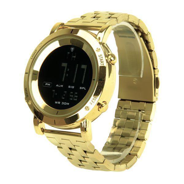 03ea4e9dd2d ... Relógio Masculino Tuguir Metal Digital TG6017 Dourado e Preto - Imagem  2 ...
