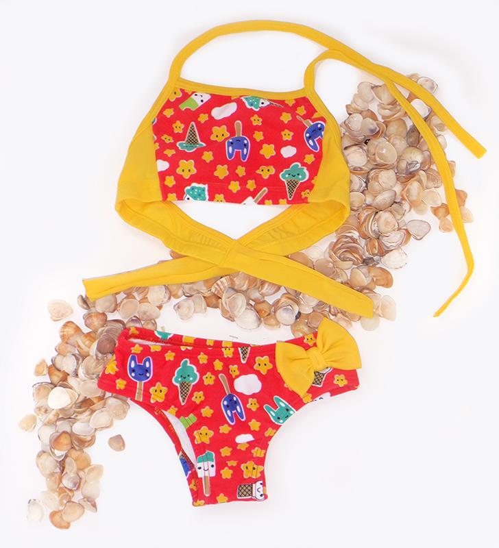 Biquíni Infantil Estampado com Lacinho Amarelo