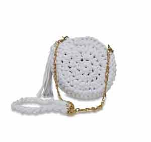 bolsa em croche redonda transversal branca