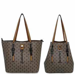 bolsa shopping bag mais bolsa transversal marrom claro