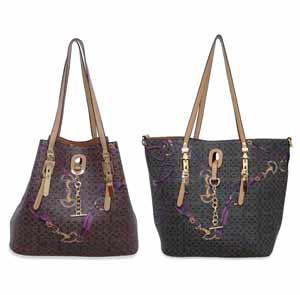 bolsa shopping bag mais bolsa transversal marrom com rosa