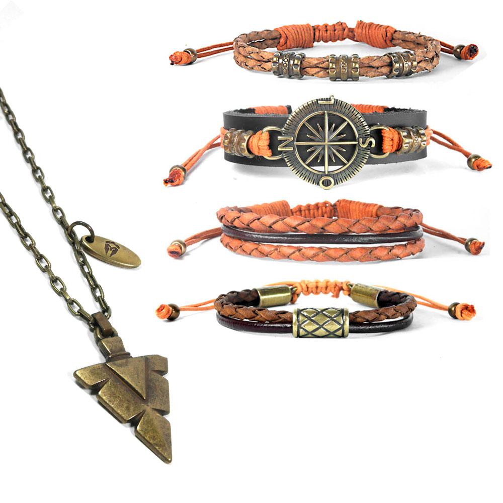 pulseira-de-couro-bussola-colar-tribal