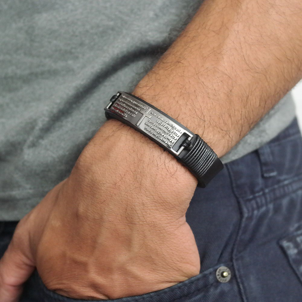pulseira de couro pai nosso