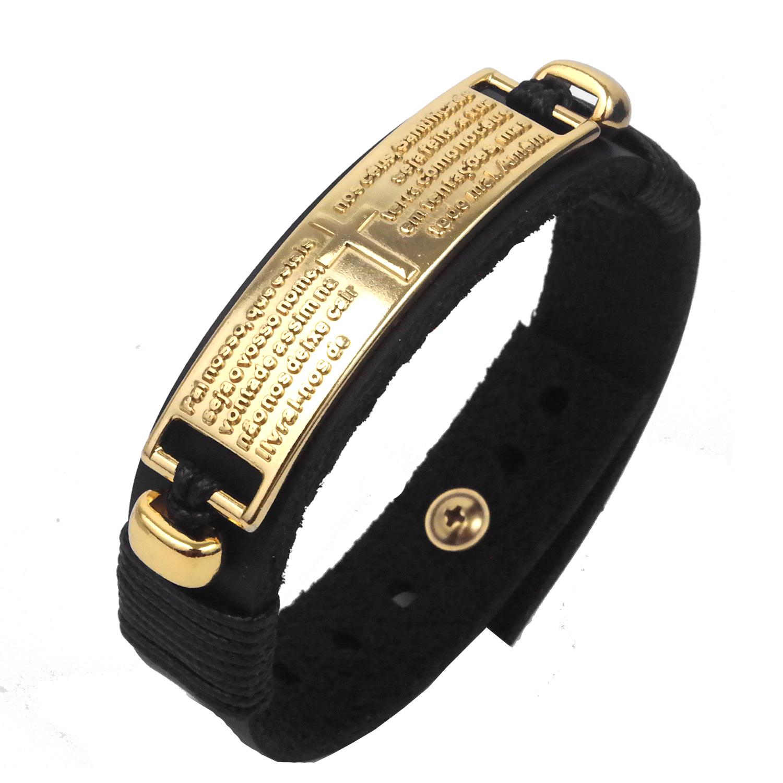pulseira de couro pai nosso-dourada