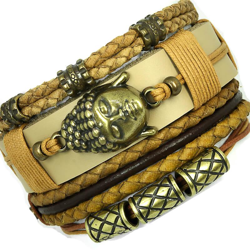 pulseiras-masculinas-de-couro-buddah