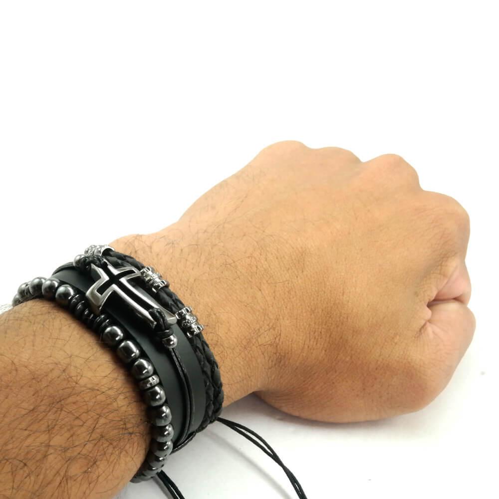 pulseiras-masculinas-de-couro-cruz
