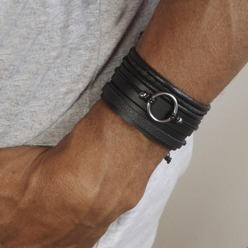 pulseiras-masculinas-couro-circular
