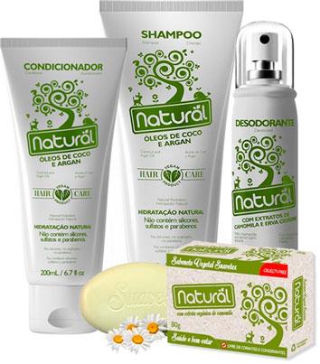 Kit banho orgânico natural contente. Shampoo, condicionador, desodorante, sabonete.