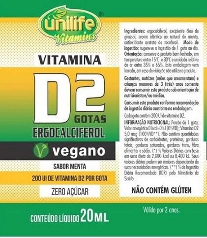 Vitamina D2 Vegana em gotas Unilife - 200 UI - Sabor Menta
