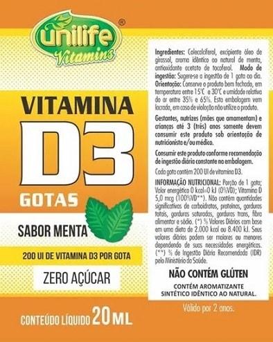 Vitamina D3 em gotas Unilife - 200 UI - Sabor Menta