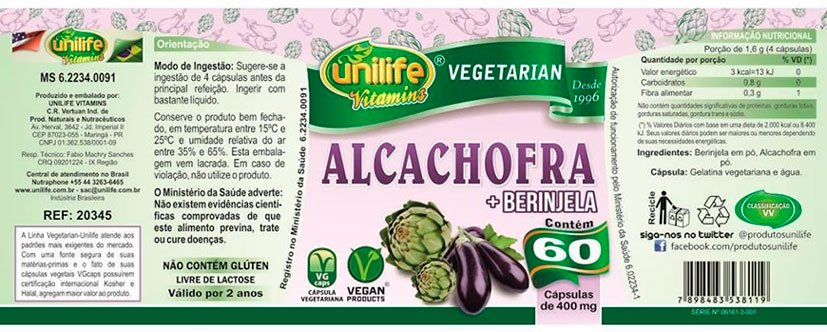 Alcachofra com Berinjela Unilife - 60 Cápsulas