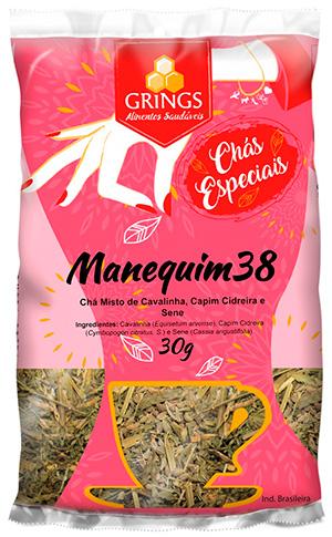 Chá Emagrecedor Seca Barriga Manequim 38 Grings 30g - cha de cavalinha, cha de capim cidreira e chá de sene