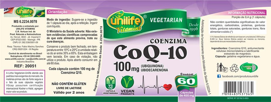 Suplemento Coenzima CoQ-10 Unilife 60 cápsulas