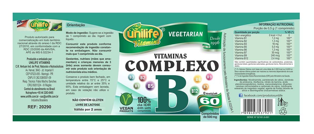 Vitaminas do Complexo B Unilife