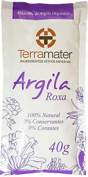 cosmético natural máscara de argila roxa terramater orgânica rejuvenescimento sachê 40g