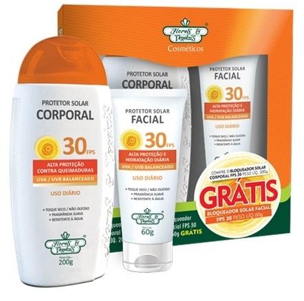 Kit Protetor Solar Vegano Facial + Corporal FPS 30 Flores & Vegetais