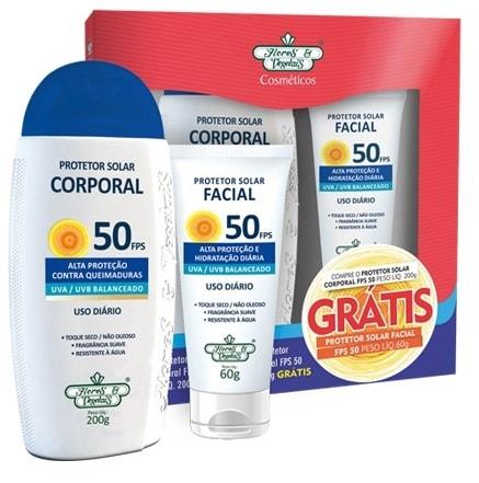 Kit Protetor Solar Vegano Facial + Corporal FPS 50 Flores & Vegetais