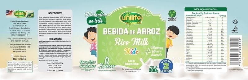 Leite Vegetal Bebida de Arroz Rice Milk Kids Baunilha Unilife 200g