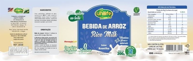 Leite Vegetal Bebida de Arroz Rice Milk Unilife 200g