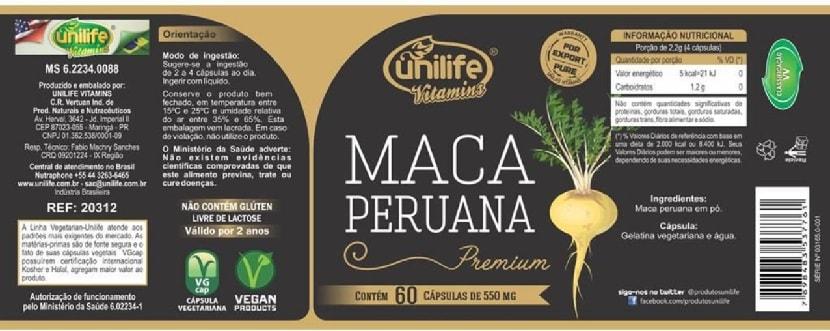 Maca Peruana Premium Pura Unilife Em Cápsulas
