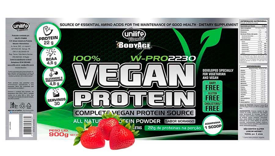 Proteina Vegana - Vegan Protein Unilife - Morango 900g