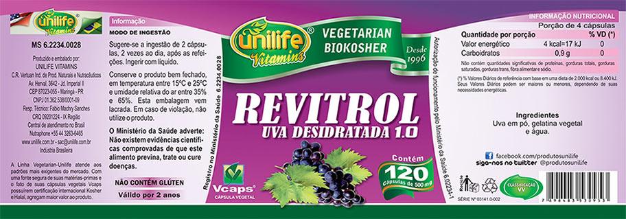 Resveratrol - Uva Desidratada Revitrol Unilife 120 Cápsulas