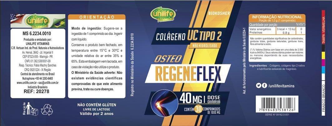 Osteo Regene-flex Unilife - Colágeno Tipo 2 com Vitamina C