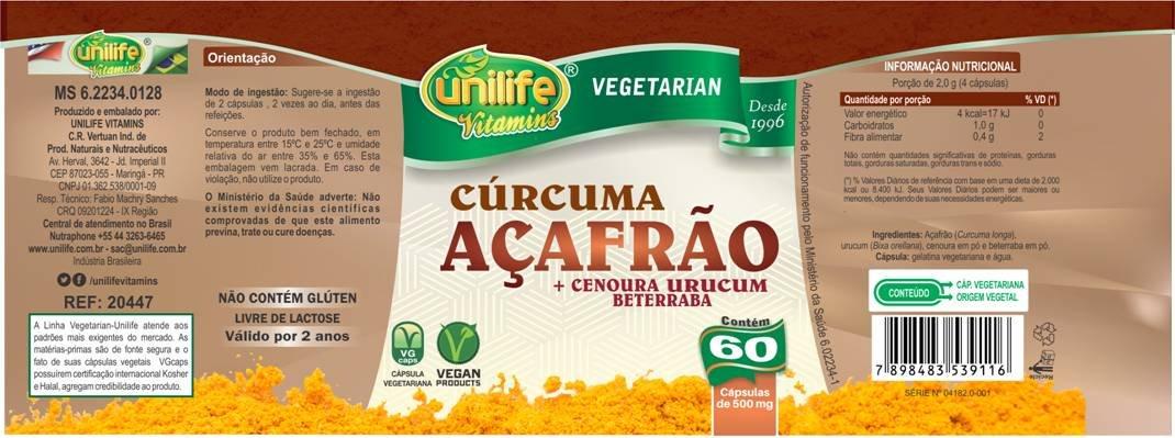 Cúrcuma - Açafrão Unilife - 60 Cápsulas