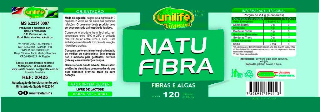 Natu Fibras Emagrecedor Natural - Algas e Fibras Unilife 120 Cápsulas