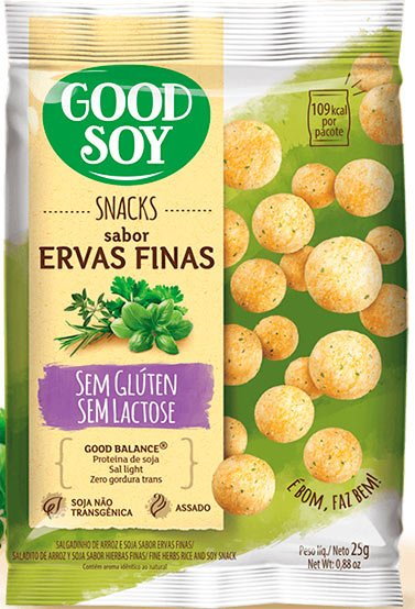 salgadinho snack good soy ervas finas sem glúten e vegano