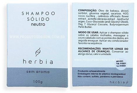Shampoo Sólido Vegano Natural Neutro Herbia