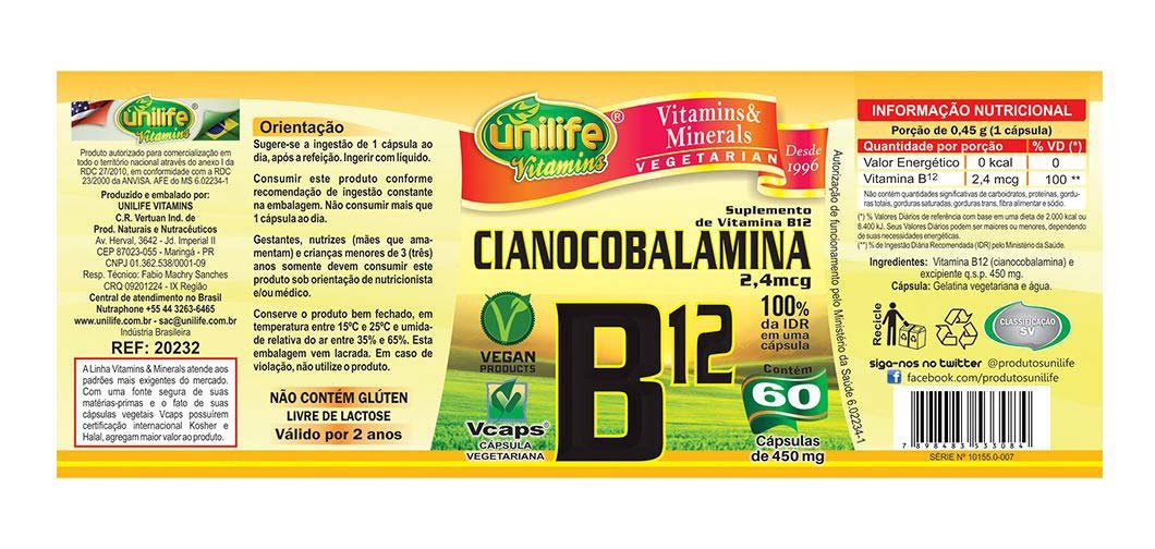 Vitamina B12 Unilife Cianocobalamina - 60 Cápsulas