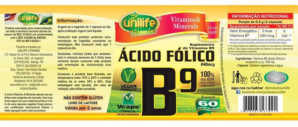 Vitamina B9 Ácido Fólico Unilife 60 Cápsulas