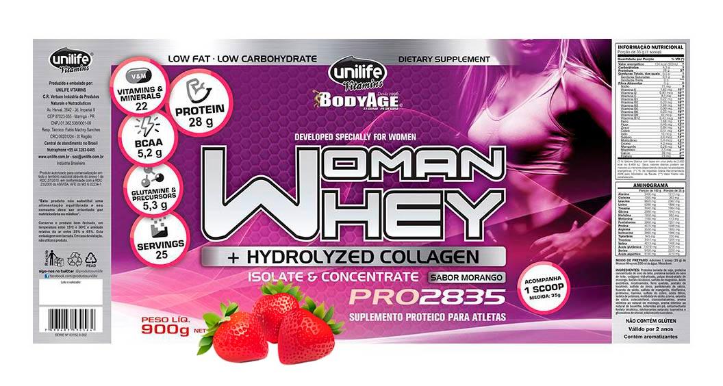 Whey Feminino Isolado e Concentrado com Colágeno Unilife - Morango 900g