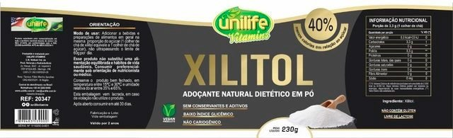 Xilitol Adoçante Natural Unilife - 230g
