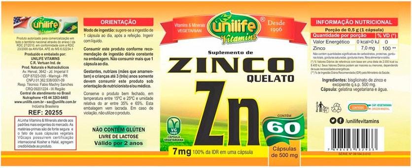 Suplemento de zinco quelato cápsulas unilife