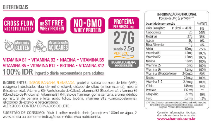 Whey Protein Isolado Ella 27g Revitá 400g Banana Flambada-8