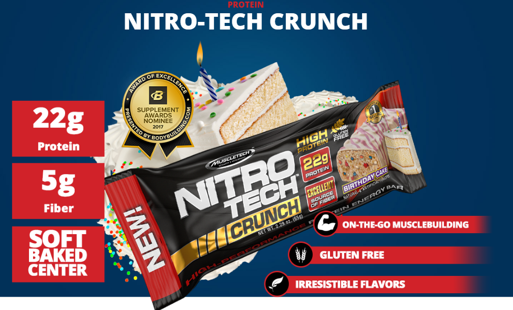 Nitro tech Crunch Bar Muscletech Chocolate Chip Cookie Dough-2