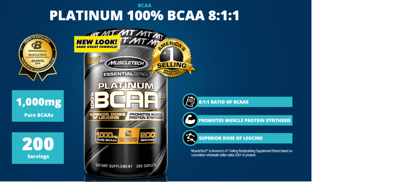 Platinum Bcaa 8:1:1 Muscletech 1000 mg 200 tablets-2