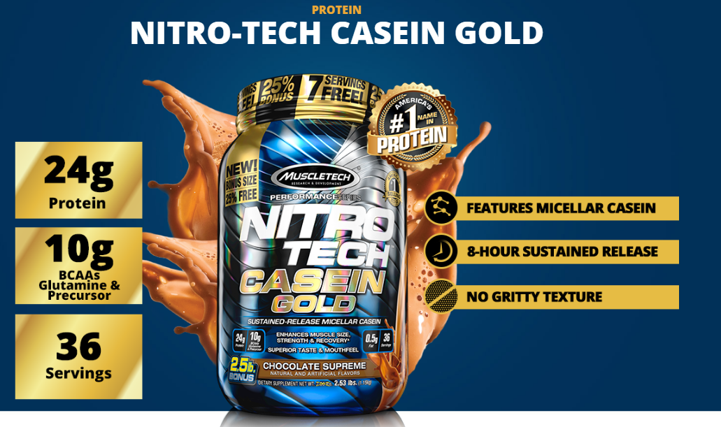 Nitro tech Caseina Gold Muscletech 1,13kg Vanilla Cream-3