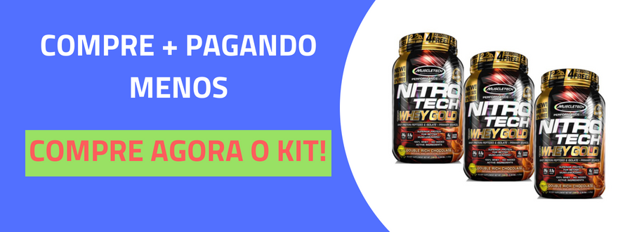 KIT 2 NITRO TECH WHEY GOLD MUSCLETECH CHOCOLATE PEANUT 1,02KG-3