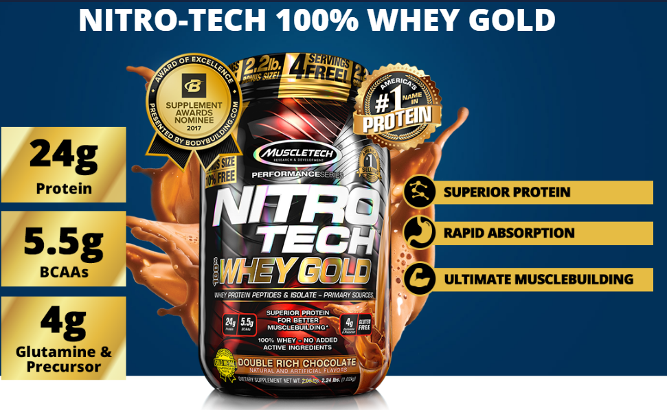 Nitro tech Whey Gold Muscletech 2,51kg Strawberry-4