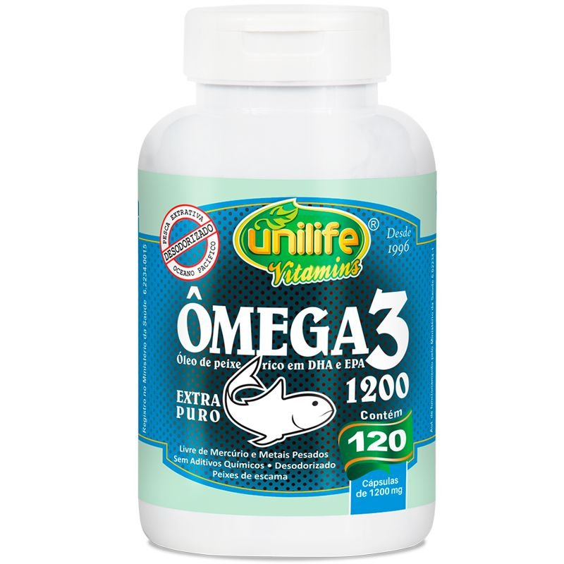 4bff36dc9 Ômega 3 óleo de peixe 1200mg 120 cápsulas Unilife - Edin