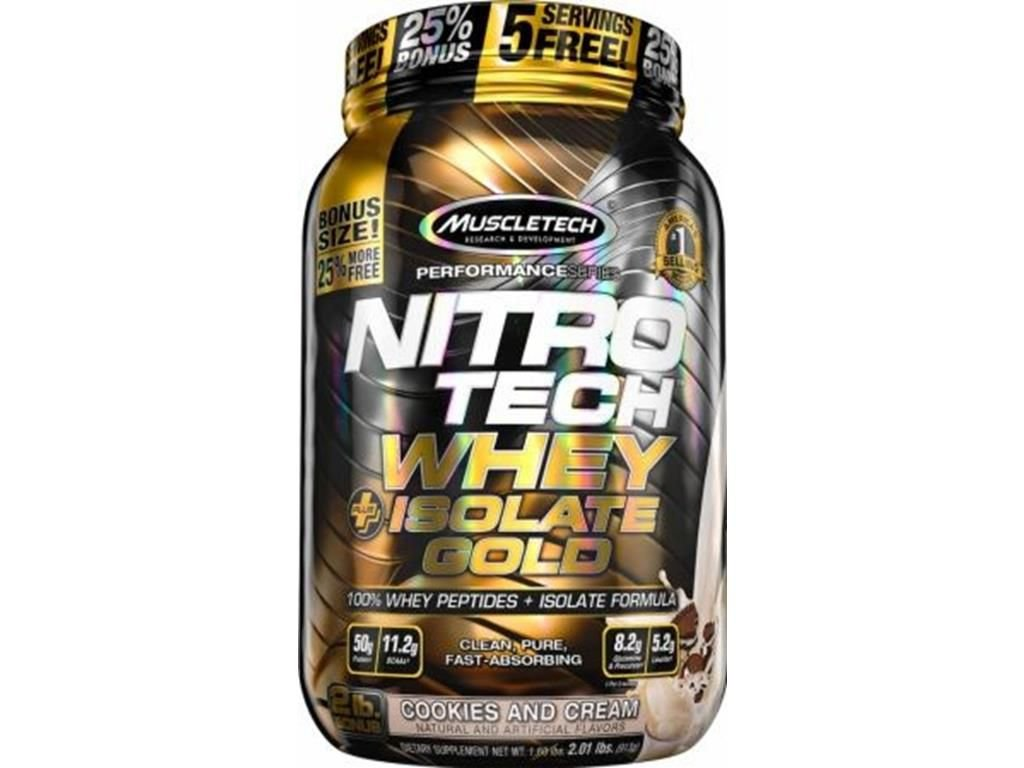 5706a021a Nitro tech Whey Gold Isolate Muscletech 907g Cookies and Cream - Edin