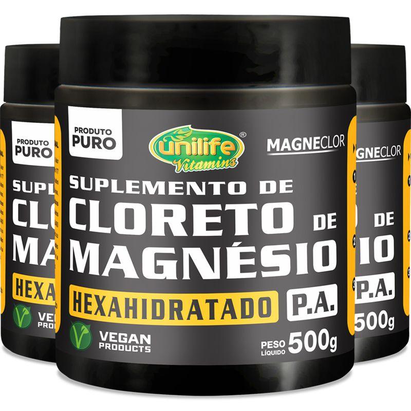 4733494ad Kit - 3 Cloreto de Magnésio Hexahidratado P.A Unilife 500g em pó - Edin