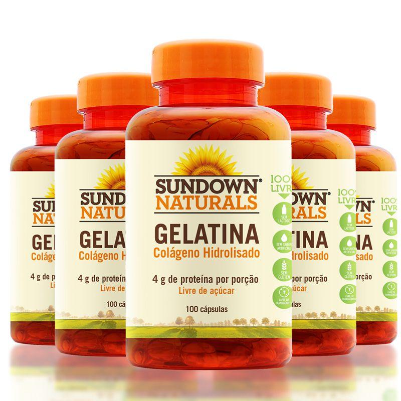 65beeb7b3 Kit 5 Gelatin 650mg Colágeno Hidrolisado Sundown 100 Cápsulas - Edin