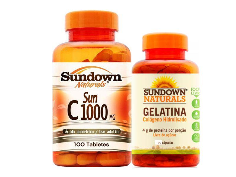 fa0cc93d4 Kit Vitamina C 100 Cáps + Colágeno 75 Cáps Sundown - Edin