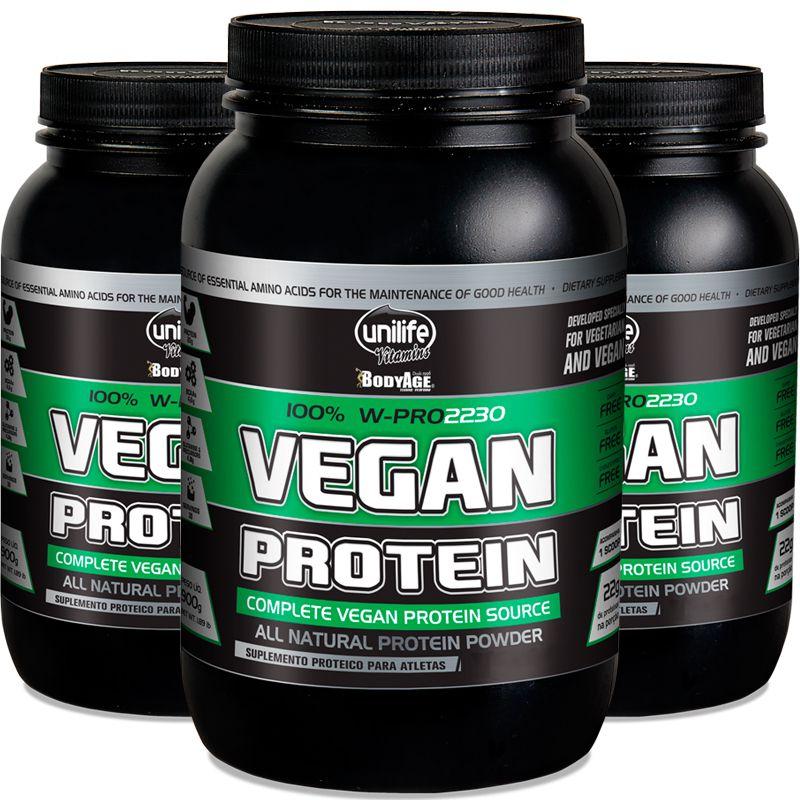 5fb6fb7eb Kit com 3 Vegan protein Chocolate 900g proteína vegetal Unilife