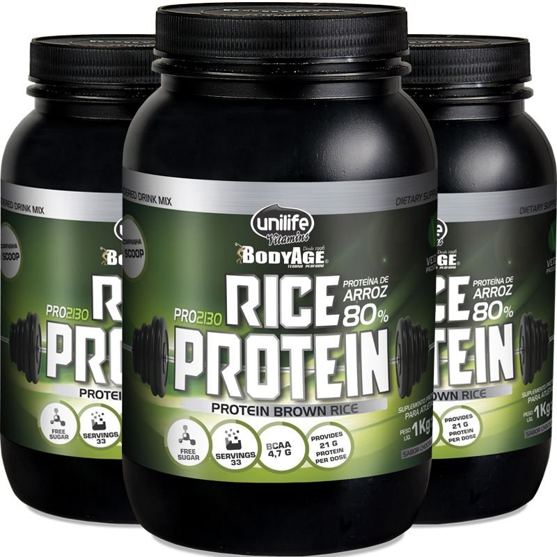 470f537c6 Kit com 3 Rice protein proteína de arroz Unilife 1kg chocolate